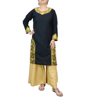 Kashmiri Cotton Black Embroidered Kurta