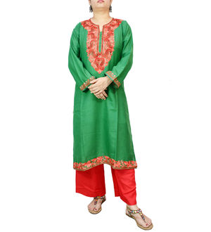Kashmiri Cotton Green Embroidered Kurta