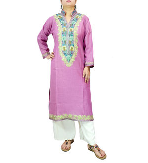 Kashmiri Cotton Lavended Color Embroidered Kurta