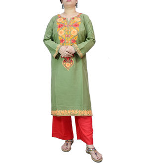 Kashmiri Cotton Mehndi Green Embroidered Kurta