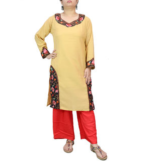 Kashmiri Cotton Tan Color Embroidered Kurta