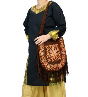 Kashmiri Dark Brown Multi Color Embroidered Suede Shoulder Bag