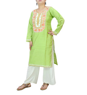 Kashmiri Grass Green Color Silk Embroidered Kurta