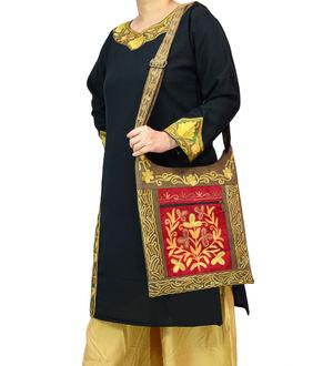 Kashmiri Green Red Embroidered Suede Shoulder Bag