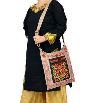 Kashmiri Grey Multi-Color Embroidered Suede Shoulder Bag