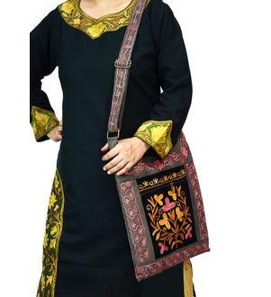 Kashmiri Grey Pink Color Embroidered Suede Shoulder Bag