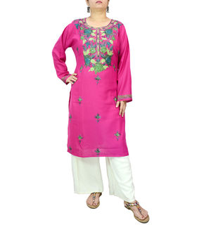 Kashmiri Magenta Color Cotton Buti Embroidered Kurta