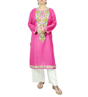 Kashmiri Magenta Color Cotton Embroidered Kurta