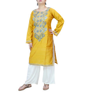 Kashmiri Mustard Color Silk Embroidered Kurta