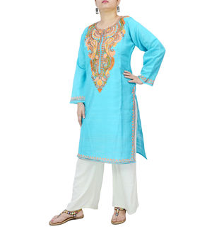 Kashmiri Ocean Blue Color Silk Embroidered Kurta