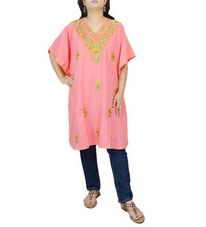 Kashmiri Peach Cambric CottonTraditionally Embroidered Kaftan