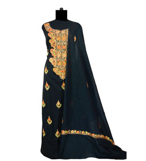 Kashmiri Pure Cotton Black Embroidered Suit With Dupatta