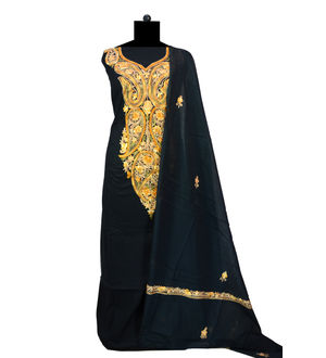 Kashmiri Pure Cotton Black Neck Embroidered Suit With Dupatta