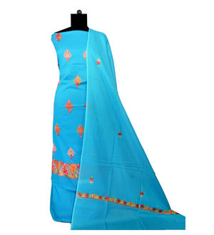 Kashmiri Pure Cotton Embroidered Blue Suit With Dupatta