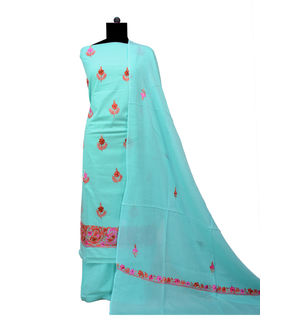 Kashmiri Pure Cotton Embroidered Sea Green Suit With Dupatta