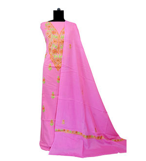 Kashmiri Pure Cotton Embroidered Suit With Dupatta