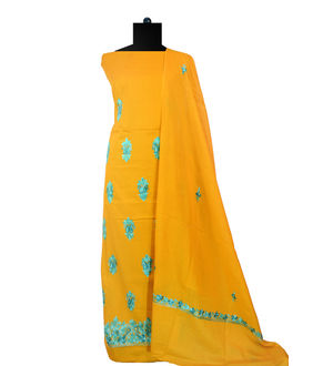 Kashmiri Pure Cotton Mustard Embroidered Suit With Dupatta