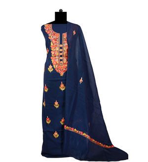 Kashmiri Pure Cotton Navy Blue Neck Embroidered Suit With Dupatta