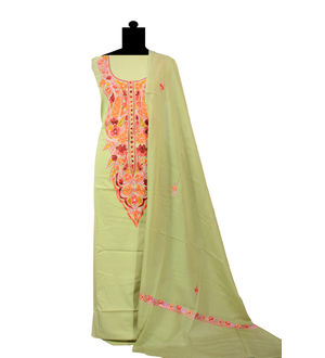 Kashmiri Pure Cotton Olive Green Neck Embroidered Suit With Dupatta