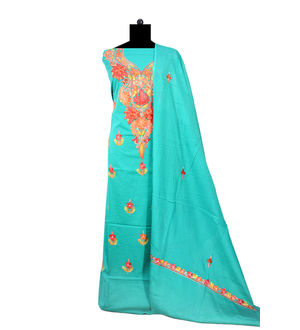 Kashmiri Pure Cotton Sea Green Colored Embroidered Suit With Dupatta