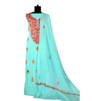 Kashmiri Pure Cotton Sea Green Embroidered Suit With Dupatta