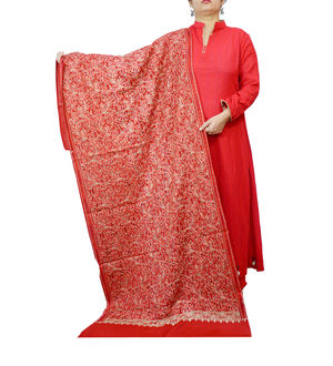 Kashmiri Pure Wool Fully Embroidered Maroon Color Stole
