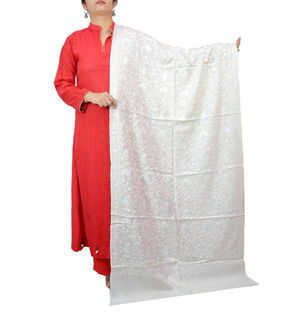 Kashmiri Pure Wool Fully Embroidered White On White Stole