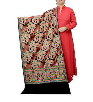 Kashmiri Pure Wool Traditionally Embroidered Black Multi Color Stole