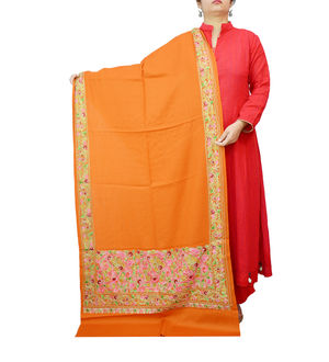 Kashmiri Pure Wool Traditionally Embroidered Orange Color Stole