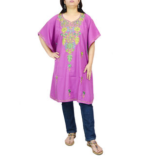 Kashmiri Purple Cambric Cotton Traditionally Embroidered Kaftan