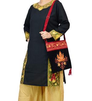 Kashmiri Red Black Embroidered Suede Sling Bag