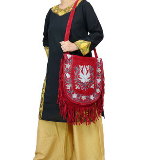Kashmiri Red Grey Color Embroidered Suede Shoulder Bag