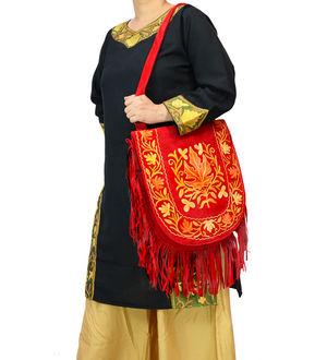 Kashmiri Red Multi Color Embroidered Suede Shoulder Bag