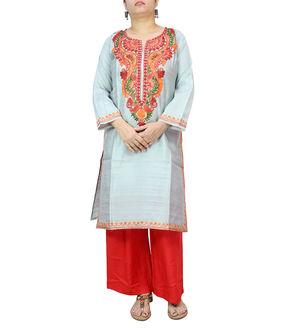 Kashmiri Silk Grey Embroidered Kurta