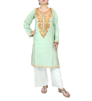 Kashmiri Silk Mint Color Embroidered Kurta