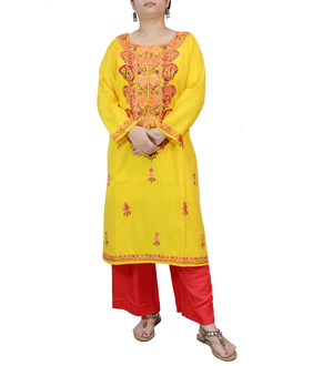 Kashmiri Silk Yellow Embroidered Kurta