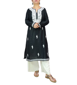 Kashmiri Tilla Work Black Color Embroidered Kurta