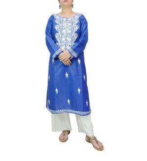 Kashmiri Tilla Work Blue Color  Embroidered Kurta