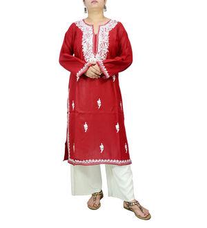 Kashmiri Tilla Work Maroon Color  Embroidered Kurta