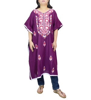 Kashmiri Voilet Cambric Cotton Traditionally Embroidered Kaftan