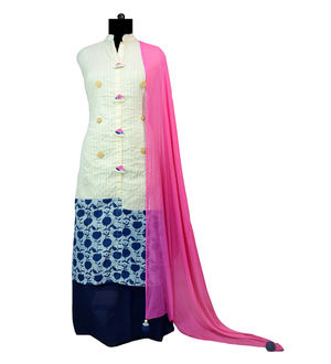 Khadi Cotton Designer Suit With Dupatta