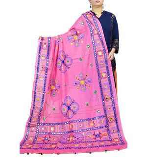 Kutch Work Pink Color Cotton Dupatta