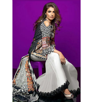 Lawn Cotton Beige Black Multicolor Suit With Chiffon Dupatta