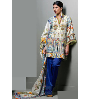 Lawn Cotton Beige Purple Multicolor SuitWith Chiffon Dupatta