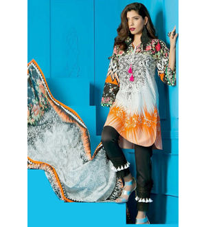 Lawn Cotton Black Beige Multicolor Suit With Chiffon Dupatta