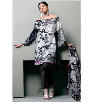 Lawn Cotton Black White Multicolor Suit With Chiffon Dupatta
