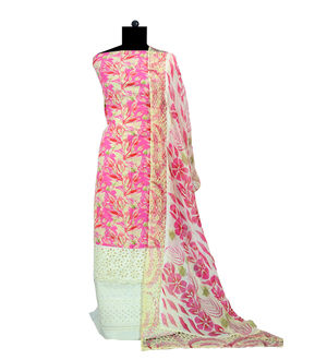 Magenta Beige Cotton Suit With Embroidered Chiffon Stole