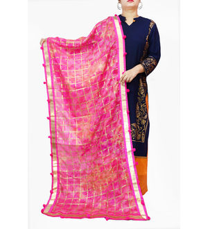 Magenta Cotton Silk khadi Work Dupatta
