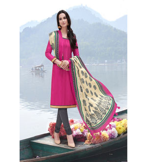 Magenta Grey Color Bhagalpuri Silk Suit With Bhagalpuri Dupatta
