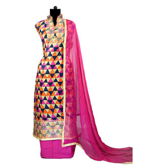 Magenta Multi Color Gotta Work Cotton Suit With Chiffon Dupatta